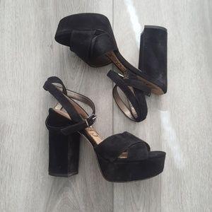 Sam Edelman Masie Platform Sandal Black Suede 6M
